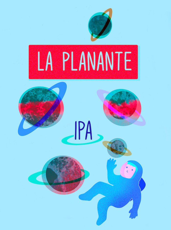IPA Beer Label Illustration the trippy with planets and an astronaut