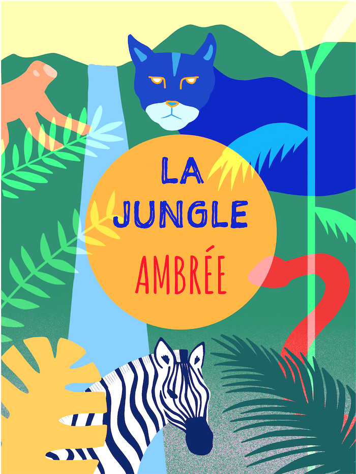 Amber beer label illustration the jungle with a puma a monkey and a zebra in the woods
