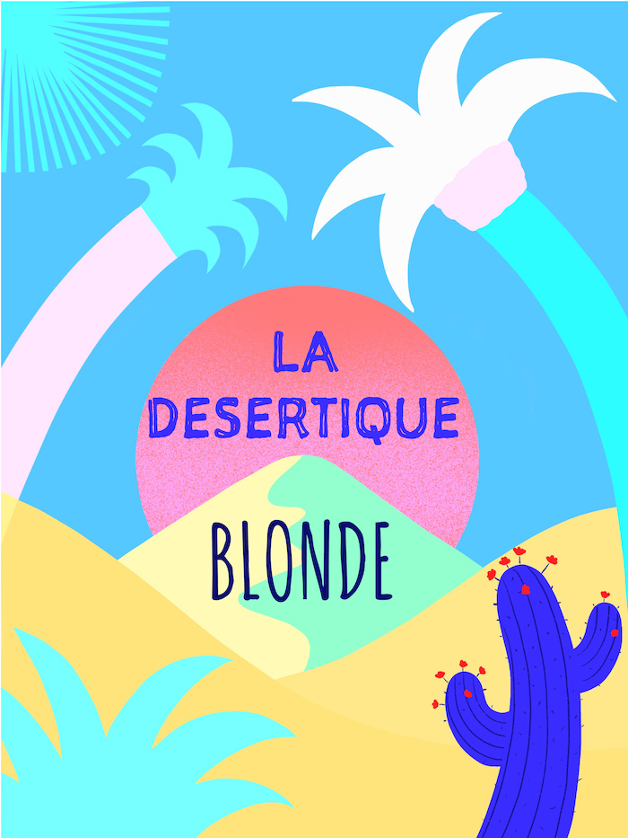 Blond beer label illustration the desert with a desert and palms